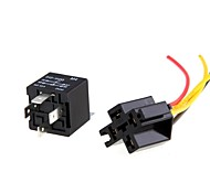 2Pcs 12V Spst Relay + Wire Socket Car Automotive Alarm 40A