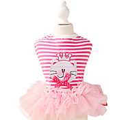 Dog Dress Pink Dog Clothes Summer / Spring/Fall Stripe Fashion