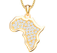 Africa Map Crystal Pendant Jewelry 18K Gold Plated White Simulated Diamond Pendants for Women/Men P30135