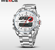 WEIDE® Men's Full Steel Analog Digital Auto Date Alarm LCD Display Sport Watch