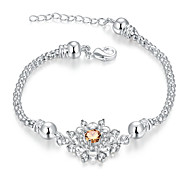 Lureme® Fashion Elegant Silver Plated Jewelry Snowflake with Cz Snake Chain Bracelets for Women