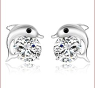 925 Silver Sterling Silver Jewelry Earrings Sample Lovely Dolphin Stud Earring 1Pair
