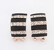 Women's New European Style Fashion Elegant Striped Shiny Rhinestone Vintage Stud Earrings