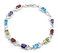 Elegant Rainbow Colorful AAA Zircon Platinum Plated Titanium Steel Bracelet for Women Gift,Fine JewelryImitation Diamond Birthstone
