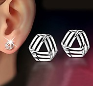 925 Silver Sterling Silver Jewelry Earrings Sample Striangle Stud Earring 1Pair