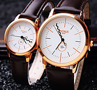 Couple's Round Dial Simple Popular Fashion Life Waterproof Dress Watch