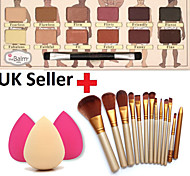 12pcs Makeup Brushes Set Eyeshadow Eyeliner Lip Brush Tool+12Colors Matt Eyeshadow Palette+1PCS Beauty Sponge