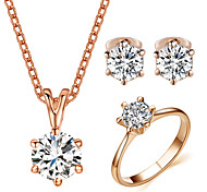 T&C Women's Concise 6 Prongs 7mm Simulated Diamond CZ Stone Pendant Necklace and Ring and Earrings Set