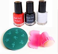 Nail Art Stamper / raspador&10pcs carimbo de imagem aleatória carimbar template&3pcs Nail Art polonês (10 ml, vermelho / preto /