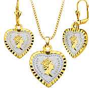 Elegant Queen Jewelry 18k Gold/Platinum Plated Heart Shape Necklace&Earrings Fashion Women Jewelry Set Gift S20165