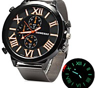 Men's Military Fashion Big Size Dial Silver Steel Band Quartz Watch Cool Watch Unique Watch