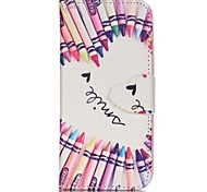 Finger Pencil Love Painted PU Phone Case for iphone5SE