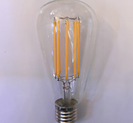 1 pieza kwb E26/E27 10W 8 COB 1000 lm Blanco Cálido / Ámbar ST64 edison Cosecha Bombillas de Filamento LED AC 85-265 V