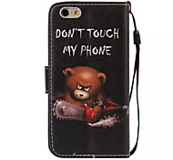 Bear Pattern PU Leather Material Phone Case for iPhone 6/iPhone 6S