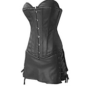 Black PU Leather Punk Lolita Corset Set