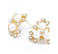 Sweet Pearl Stud Earrings Gold Jewelry