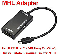 1080P MHL Micro USB to HDMI HDTV Cable Adapter for Galaxy S2 i9100 i9220 One M7 M8 Xperia Z1 Z2 Z3 Mobile Phone Black