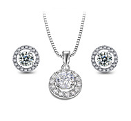 T&C Women's Perfect Jewelry Set Including 1 Pair Small Cute CZ Stud Earrings and Chain Pendant Necklace