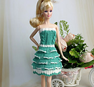 Barbie Doll White / Green Casual Woolen Dresses Dresses