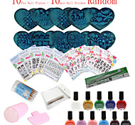 36Pcs /Set  Nails Stamping Plates Nail Art Polish Templates (Nail Plates + Nail Sticker Random)