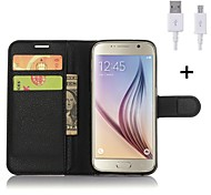 PU Leather Flip Wallet Case with USB Cable for Samsung Galaxy S5/S6/S6 Edge/S6 Edge +/S7/S7 Edge(Assorted Colors)