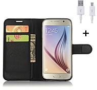 PU-Leder Flip-Mappenkasten mit USB-Kabel für Samsung-Galaxie s5 / s6 / s6 Rand / s6 Rand + / s7 / s7 Rand (verschiedene Farben)