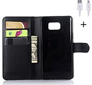 PU-Leder Flip-Mappenkasten mit USB-Kabel für Samsung Galaxy Note 3 / Note 4 / Note 5 (verschiedene Farben)