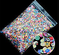1pack Polymer Clay 3d Nail Art Mix Flowers Feather Fruit Fimo Nail Stickers Decorations