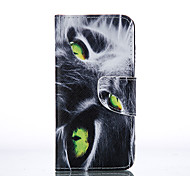 Yellow Eyes Painted PU Phone Case for iphone5/5S