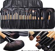 24PCS Burlywood Professional Wood Handle Makeup Brush Set with Black Leather Case