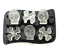 Silicone Skull Ice Mould Ice Cream Ice Cubes Tray Pudding Jelly Mold (Random Color)