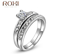 Double Layer Silver Zircon Wedding Promise Ring for Lady