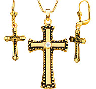 New Trendy Necklace&Earrings 18k Gold Plated Crystal Jewelry Set for Women/Men Gift Wholesale S20155-1