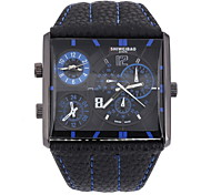 Men's Military Fashion Square Double Time Leather Band Quartz Watch Cool Watch Unique Watch