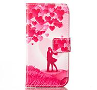 amo padrão de capa de couro pu com slot para cartão e ficar para iPhone 6 6s / iphone