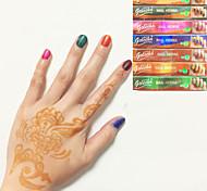 6x colore nero hennè coni a base di erbe tatuaggio temporaneo inchiostro kit body art mehandi