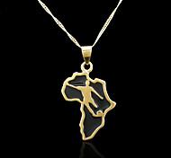 18k verdadeira banhado a ouro mapa de áfrica pendant