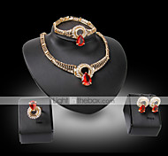 Lucky Doll Vintage Diamond 18K Gold Plated Crystal  Rhinestone Necklace & Earrings & Bracelet & Ring Party Jewelry Sets