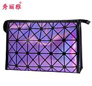 Makeup Storage Cosmetic Bag / Makeup Storage PU Lattice Quadrate 22.9x7x14.6cm Blue / Purple / White