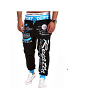 Foreign Trade Hot Style Men Smoked Strap Elastic Waist Printed Letters Loose Cargo Pants