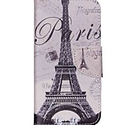 Cross Pattern PU Leather Wallet Case for Wiko Rainbow Jam 4G - Paris Eiffel Tower