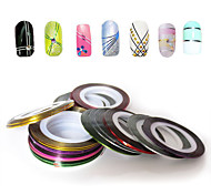 30PCS Mixs Color Foil Stripping Tape Line Nail Stripe Tape Nail Art Decoration Sticker (30Pcs/Package)