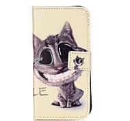Teste padrão do gato estojo de couro pu com slot para cartão e ficar para iPhone 6 6s / iphone