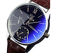 Men's YAZOLE Watch Quartz Waterproof Sports Watch Blue Gems Dial Leather Dress Watch(Assorted Color)