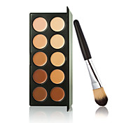 New 10 Colors Contour Face Cream Makeup Concealer Palette + Powder Brush