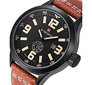 Men's Military Watch Quartz Japanese Quartz Calendar Leather Band Cool Black Brown Brand NAVIFORCE