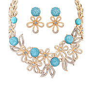 Women European Style Fashion Exaggerated Flower Rhinestone Resin Necklace Earrings Sets