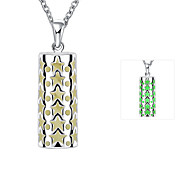 Individual Luminouss Cylinder Star Combine with Dot Zinc Alloy Silver Plated Pendant Necklace(Green,Blue, Purple)(1PC)