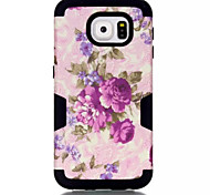 The Cherry Blossom Pattern & Silicone & Plastic Case For Samsung Galaxy  S6  Cell Phone Cover