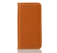 For iPhone 5 Case Card Holder / with Stand / Flip / Magnetic Case Full Body Case Solid Color Hard Genuine LeatheriPhone 7 Plus / iPhone 7